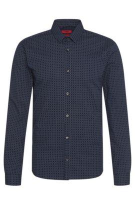 Chemise à carreaux Extra Slim Fit en coton: «Ero3», Bleu foncé