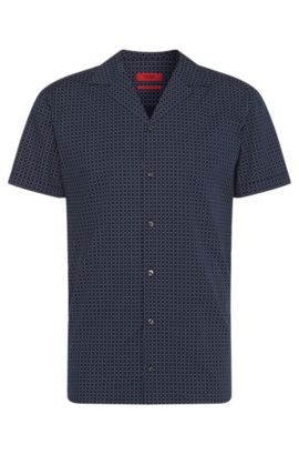 Patterned relaxed-fit shirt in pure cotton: 'Endo', Dark Blue