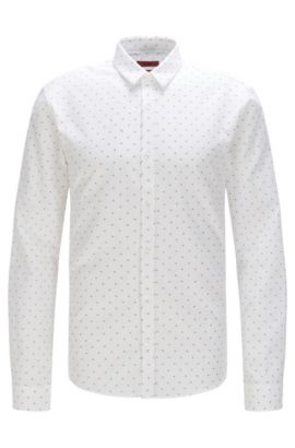 Extra slim-fit shirt in cotton with all-over print: 'Ero3', Open White