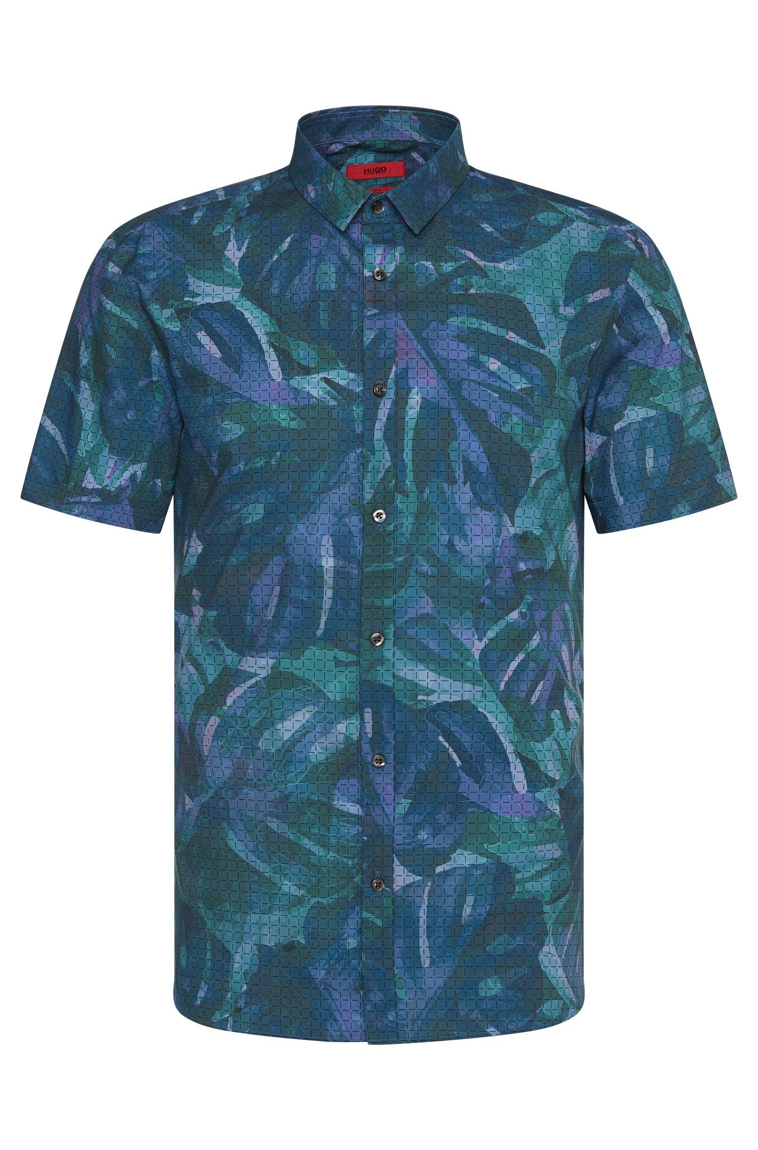 Extra slim-fit overhemd van katoen met korte mouwen: 'Empson'