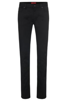 Jeans slim fit leggermente lucidi in misto cotone e viscosa: 'HUGO 708', Nero