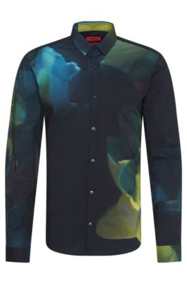 Extra slim-fit overhemd van katoen met abstract dessin: 'Ero3', Groen