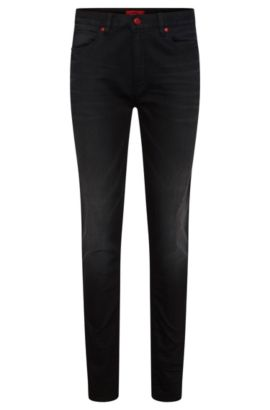 Skinny-fit jeans in stretchy cotton blend with viscose: 'HUGO 734', Black