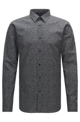 Finely patterned extra-slim fit shirt in cotton: 'Elisha', Black