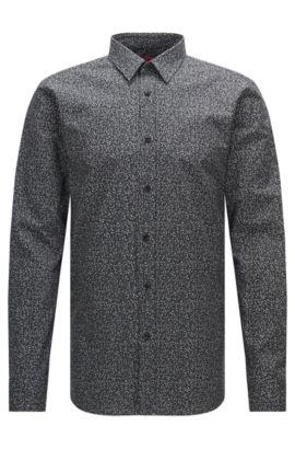 Fein gemustertes Extra Slim-Fit Hemd aus Baumwolle: 'Elisha', Schwarz