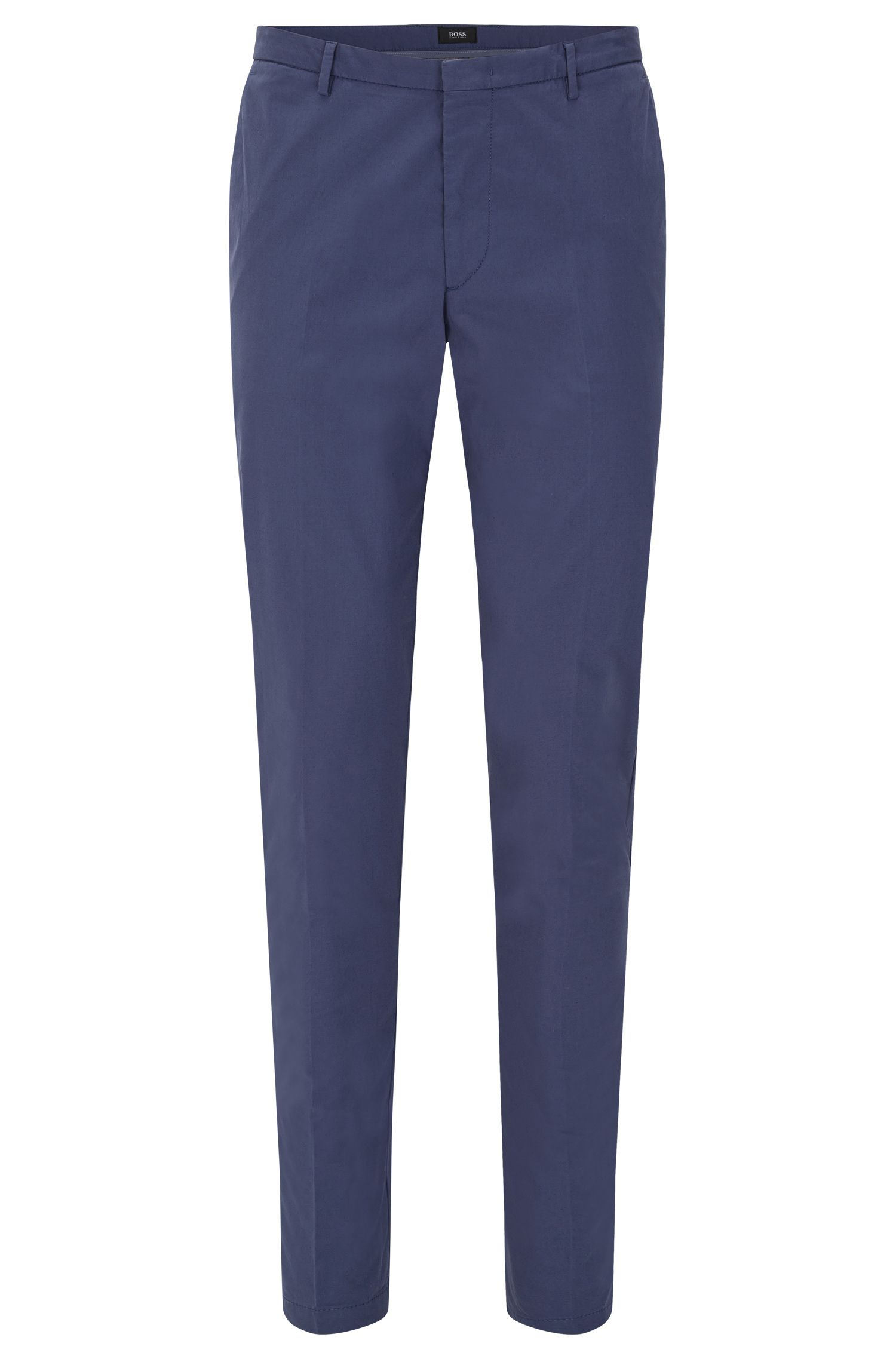 Slim-fit chinos in stretch cotton with pressed creases: 'Kaito3-W'