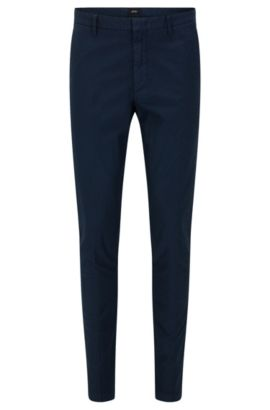 Pantalon Slim Fit en coton stretch structuré: «Kaito3-D», Bleu foncé