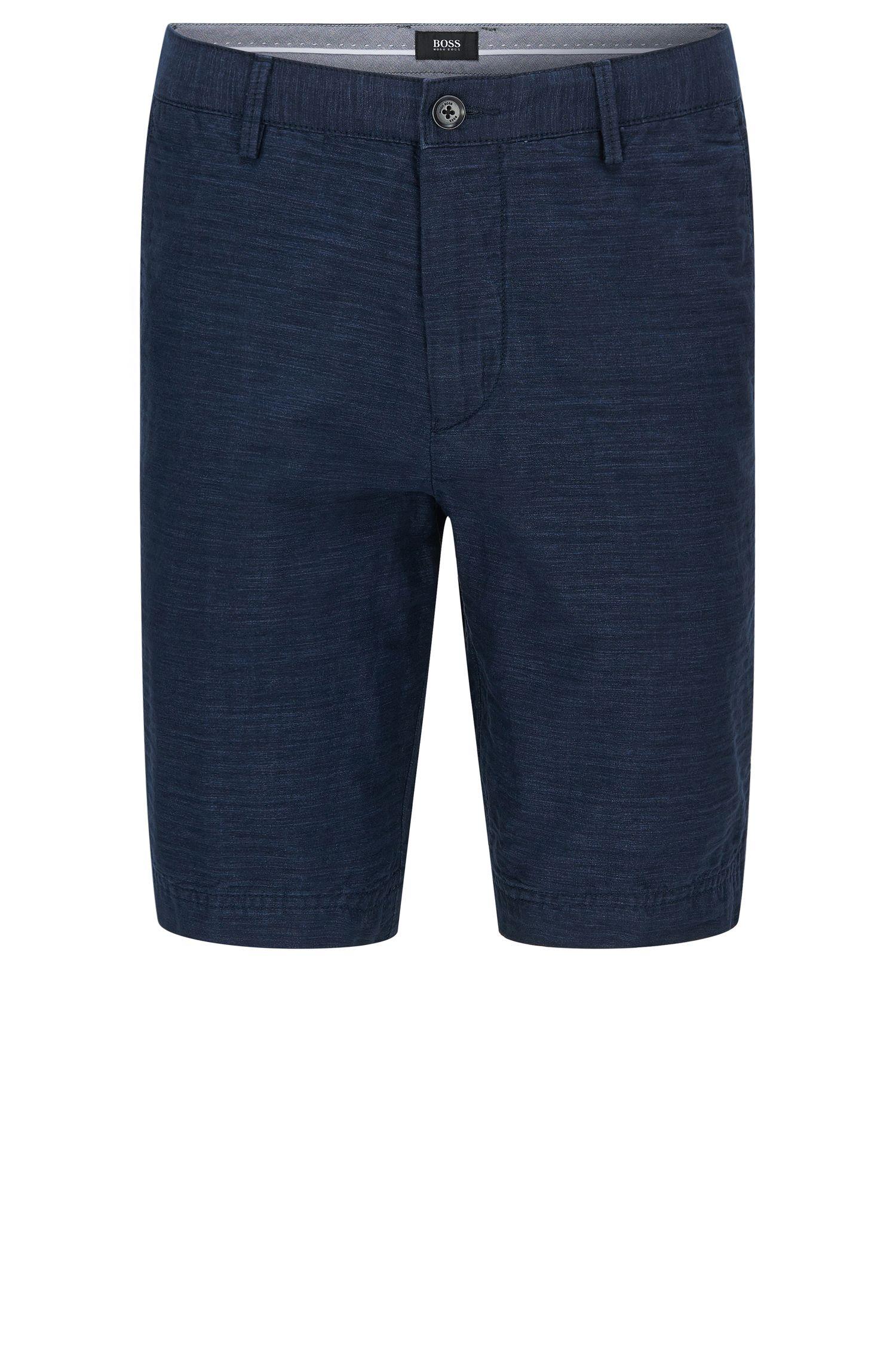 Short Regular Fit en coton mélangé à teneur en lin, façon denim: «Crigan-Short-W»