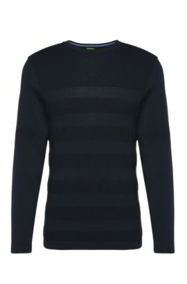Striped slim-fit knitted sweater in cotton: 'Rupe', Dark Blue