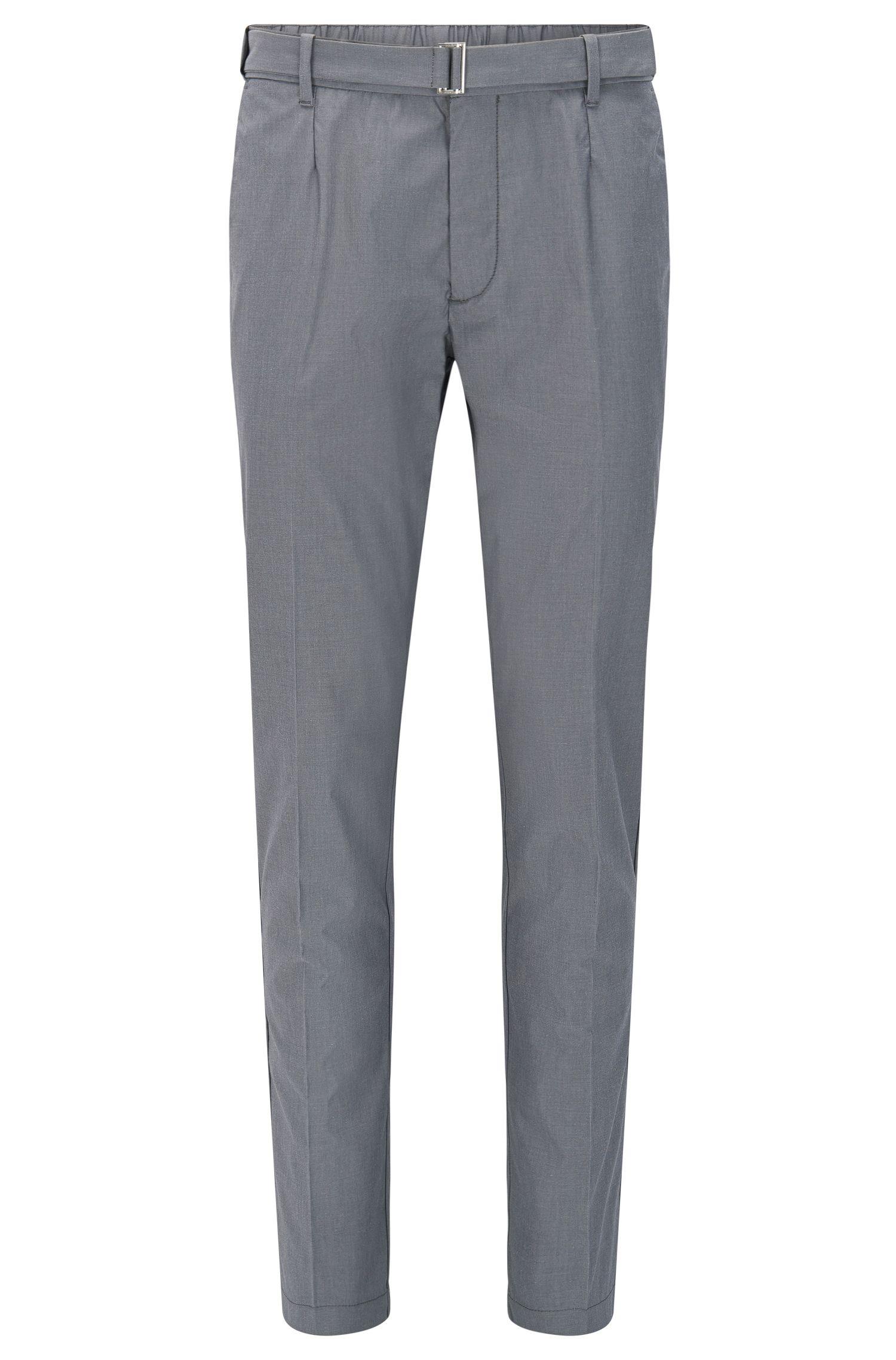 Pantalón slim fit en mezcla de algodón elástico con seda: 'Kito-Belt-W'