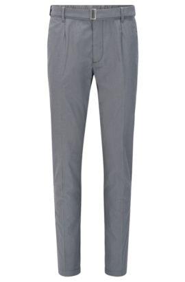 Pantalón slim fit en mezcla de algodón elástico con seda: 'Kito-Belt-W', Gris