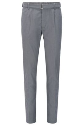 Slim-fit trousers in a stretch cotton blend with silk: 'Kito-Belt-W', Grey