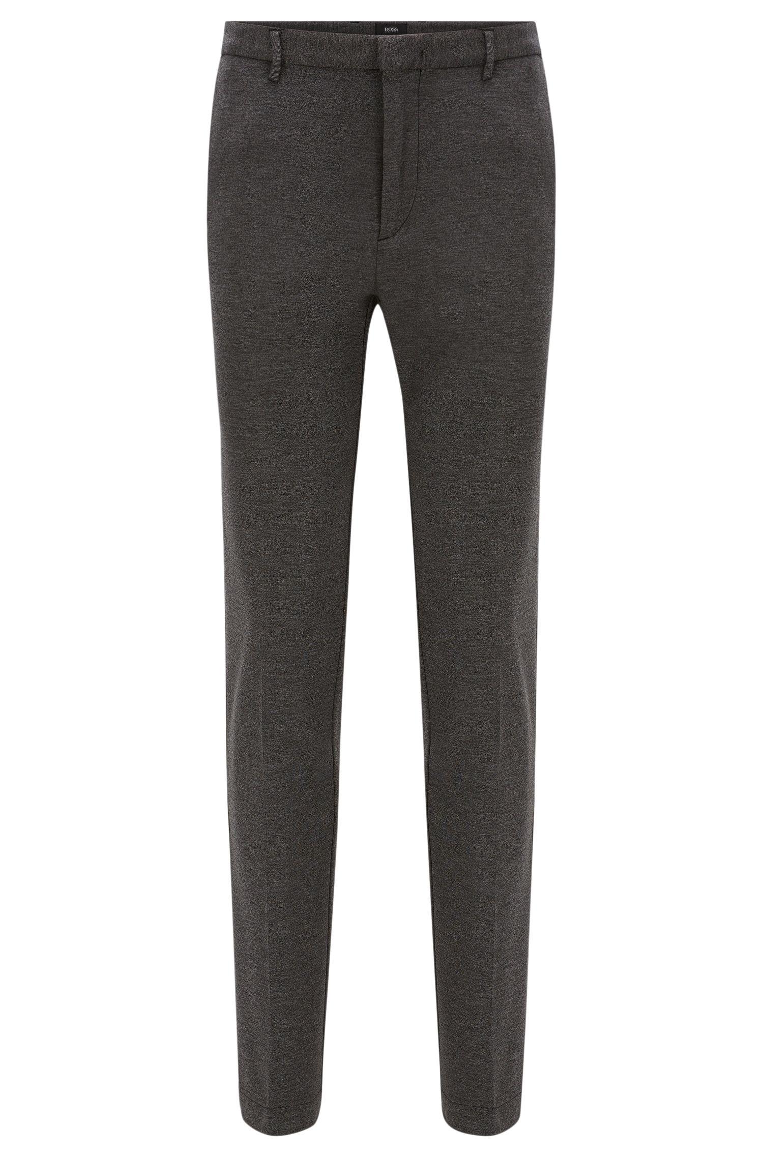 Pantalon Slim Fit à plis marqués, en viscose mélangée extensible à la finition chinée: «Kaito3-W»