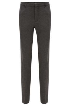 Pantalon Slim Fit à plis marqués, en viscose mélangée extensible à la finition chinée: «Kaito3-W», Gris
