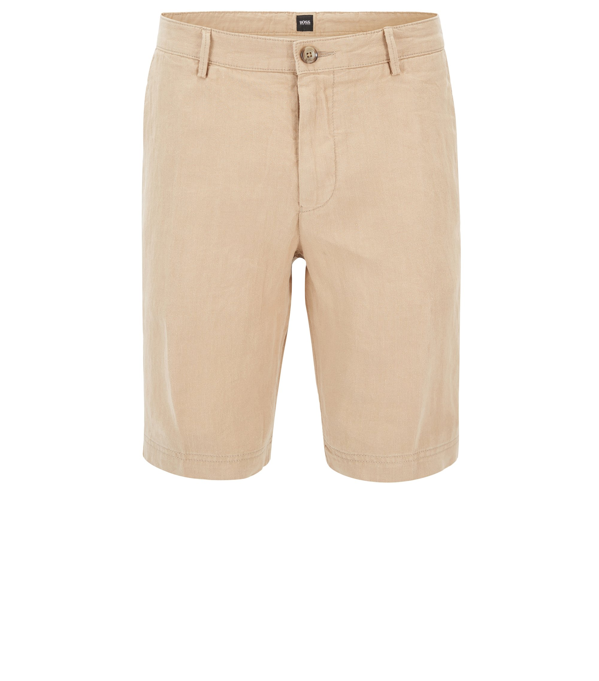 Regular-Fit Shorts aus reinem Leinen, Beige
