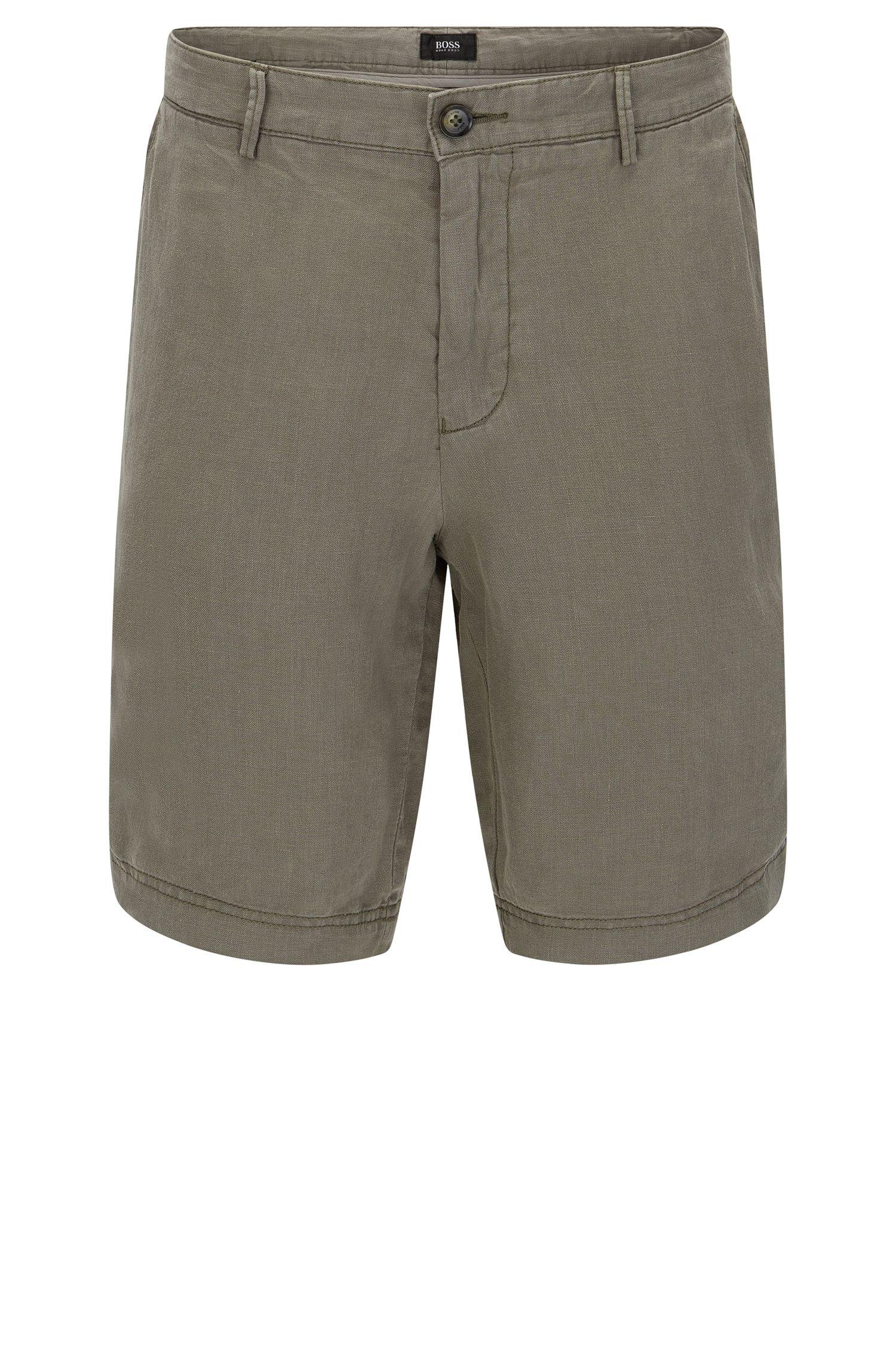 Unifarbene Regular-Fit Shorts aus Leinen: 'Crigan-Short'