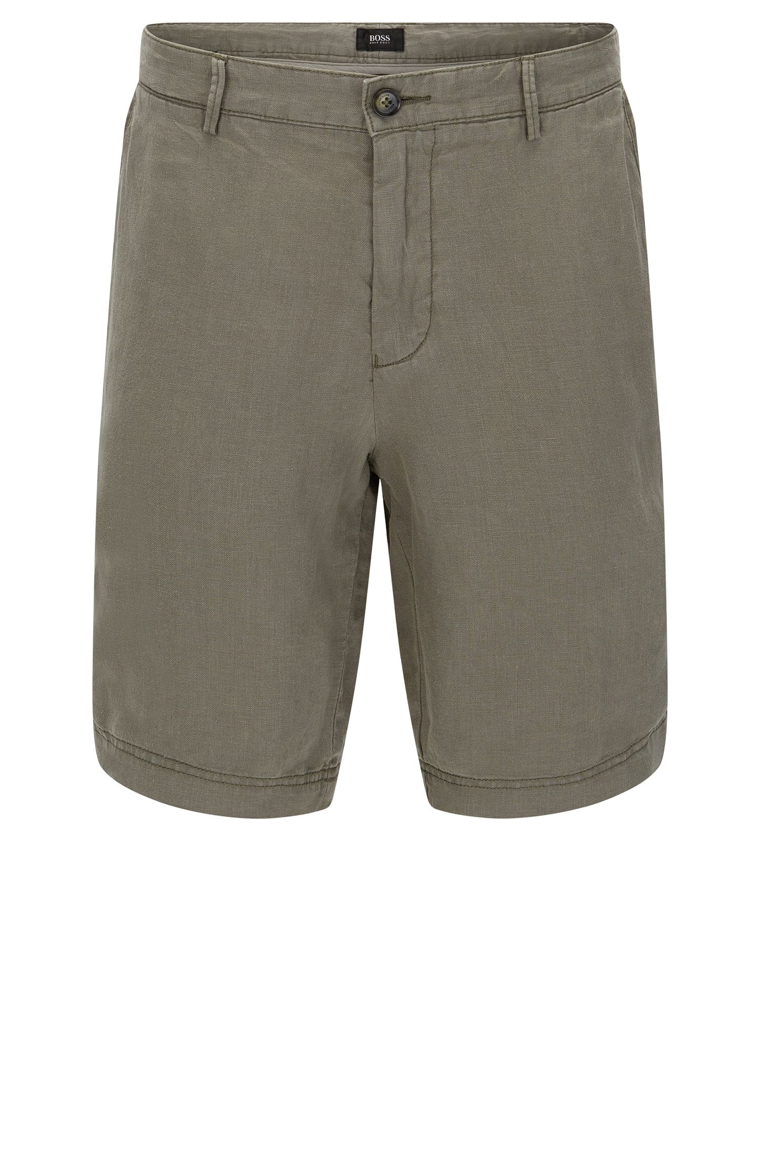 Unifarbene Regular-Fit Shorts aus Leinen: 'Crigan-Short'