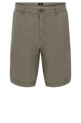 Plain regular-fit shorts in linen: 'Crigan-Short', Green