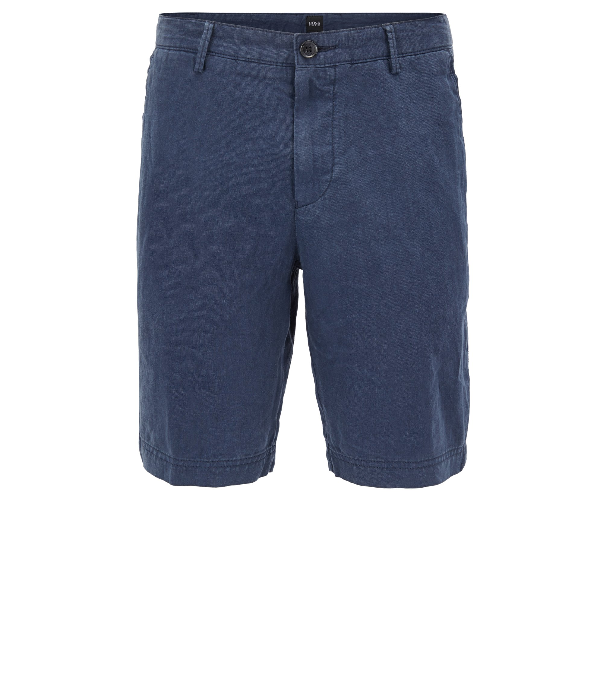 Regular-fit shorts in pure linen, Dark Blue