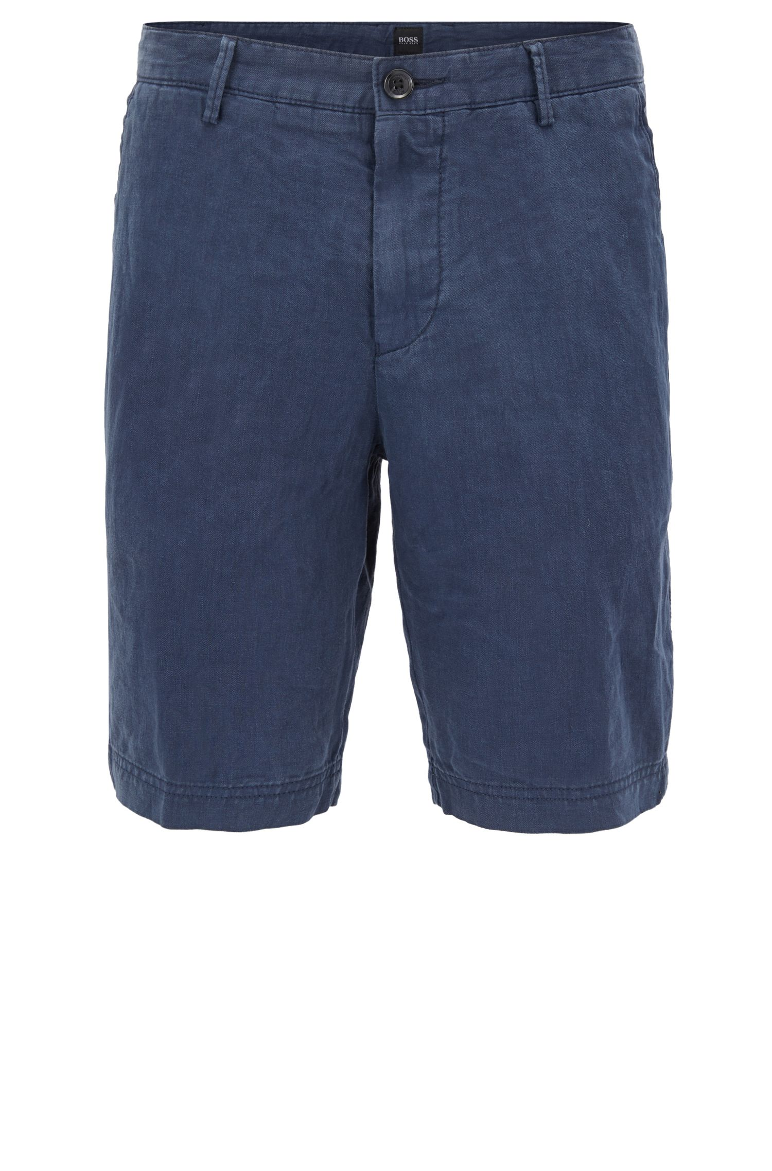 Regular-Fit Shorts aus reinem Leinen, Dunkelblau