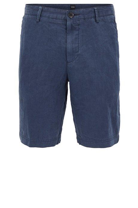 Regular-fit shorts in pure linen, Dark Blue