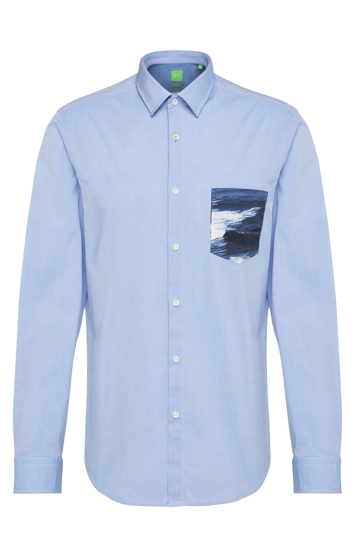 Regular fit shirt in stretch cotton with contrasting pocket: 'Baul'
