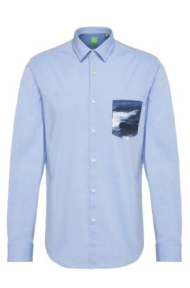 Regular fit shirt in stretch cotton with contrasting pocket: 'Baul', Blue