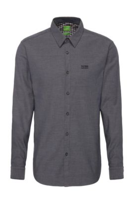 Camisa con textura regular fit en algodón: 'C-Buster', Azul oscuro