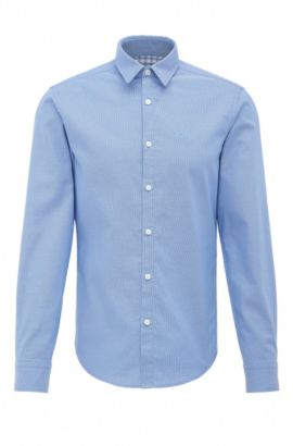 Textured regular-fit shirt in cotton: 'C-Buster', Blue