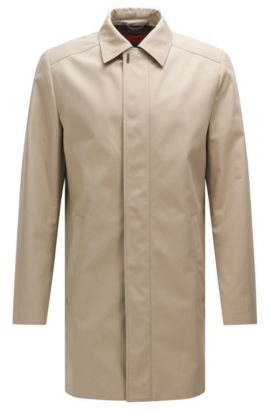 Regular-fit coat in water-repellent fabric blend with cotton: 'C-Makti', Beige