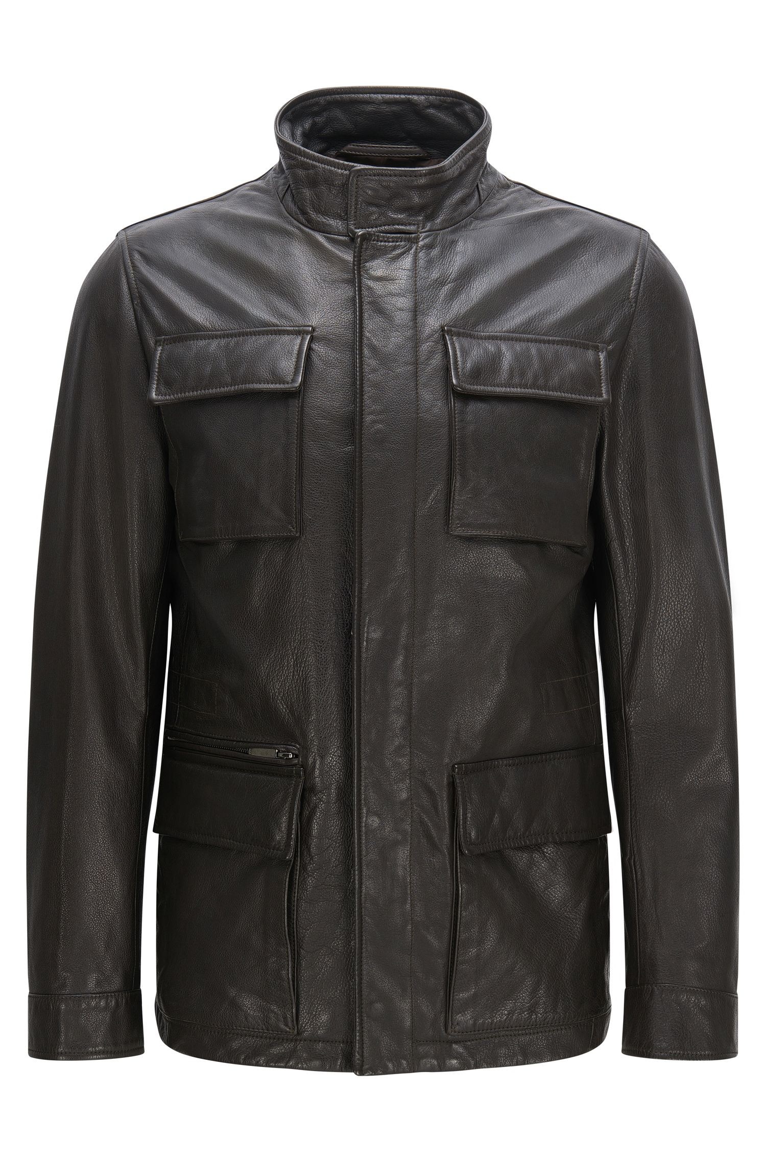 Blouson en cuir Regular Fit à col mao : « Gribbin »