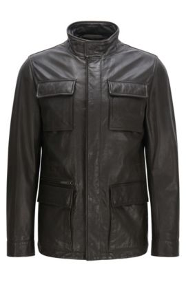 Regular-fit leather jacket with band collar: 'Gribbin', Dark Brown