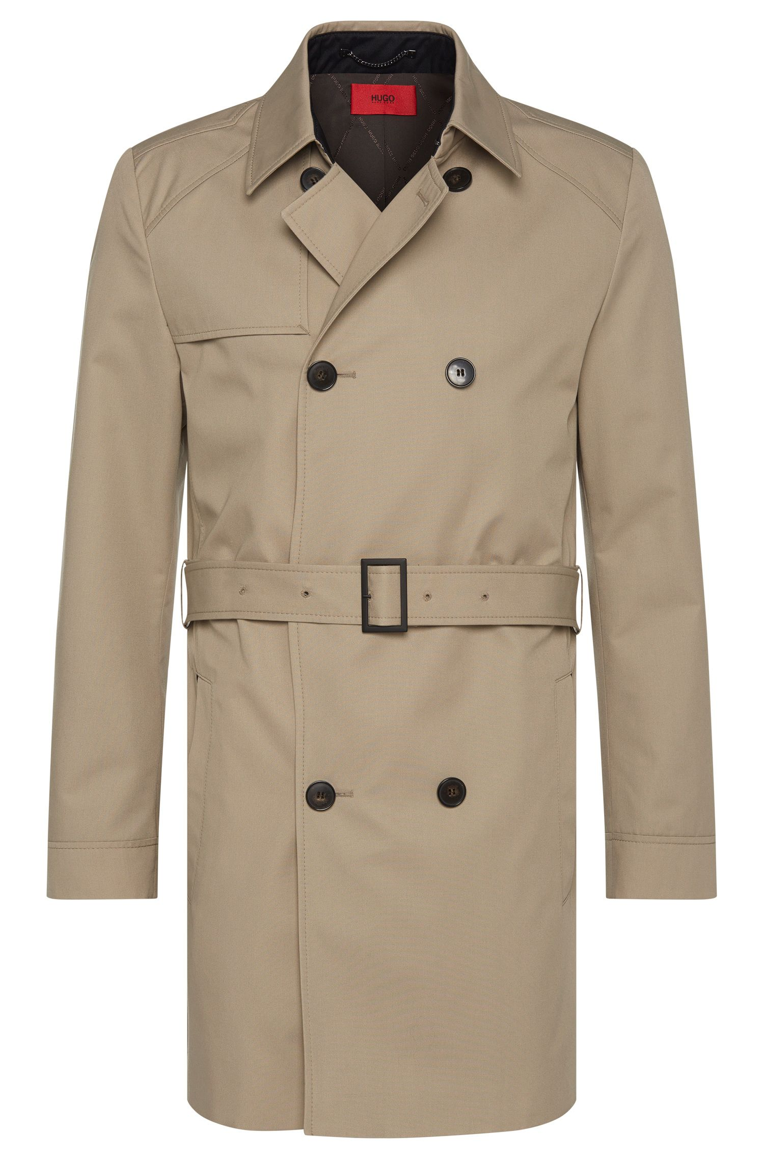 Water-repellent regular-fit trench coat with front half yoke: 'C-Melgono'