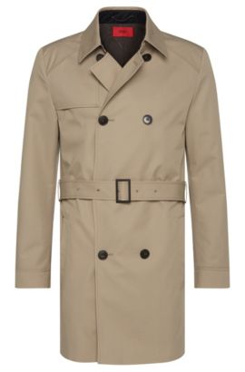 Trench imperméable Regular Fit pourvu d'un bavolet sur un côté : « C-Melgono », Beige