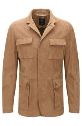 Tailored Lederjacke mit aufgesetzten Taschen: 'T-Norvis', Hellbeige