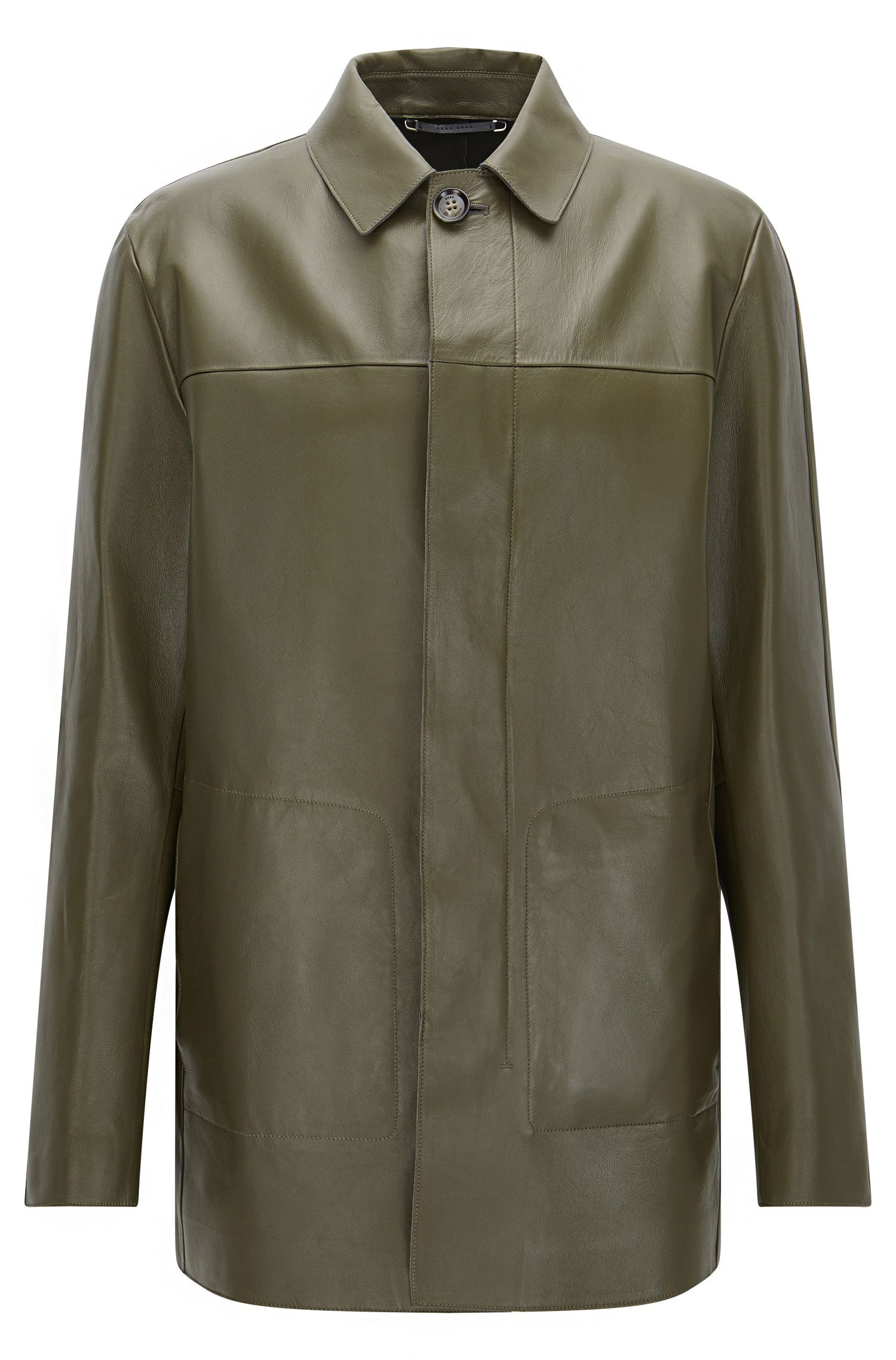 Tailored leather coat with concealed button placket: 'T-Coppin'