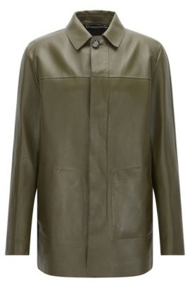 Tailored leather coat with concealed button placket: 'T-Coppin', Green
