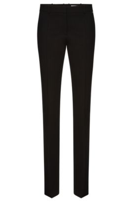 Regular-fit trousers in textured stretch new wool: 'Titana3', Patterned