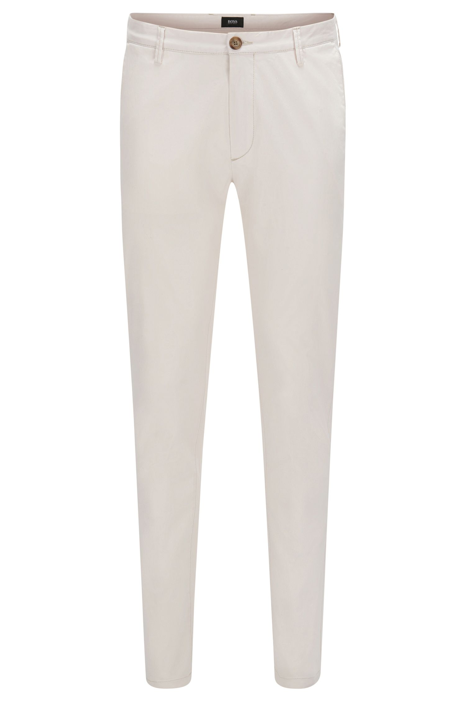 Effen slim-fit chino van stretchkatoen: 'Rice3-W'