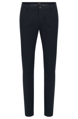 Unifarbene Slim-Fit Chino aus Stretch-Baumwolle: 'Rice3-W', Dunkelblau