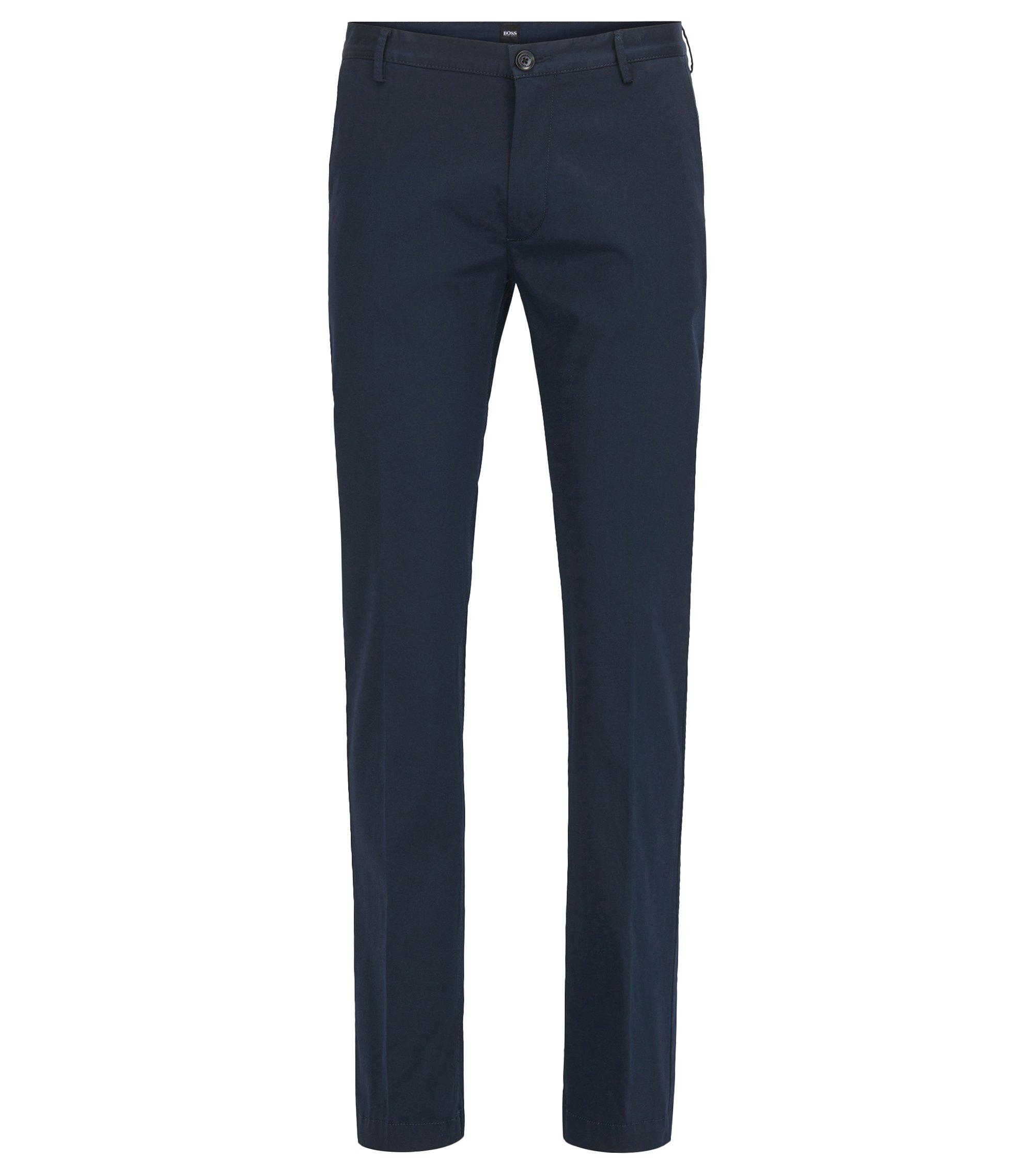 Chino Slim Fit en coton stretch mercerisé, Bleu foncé