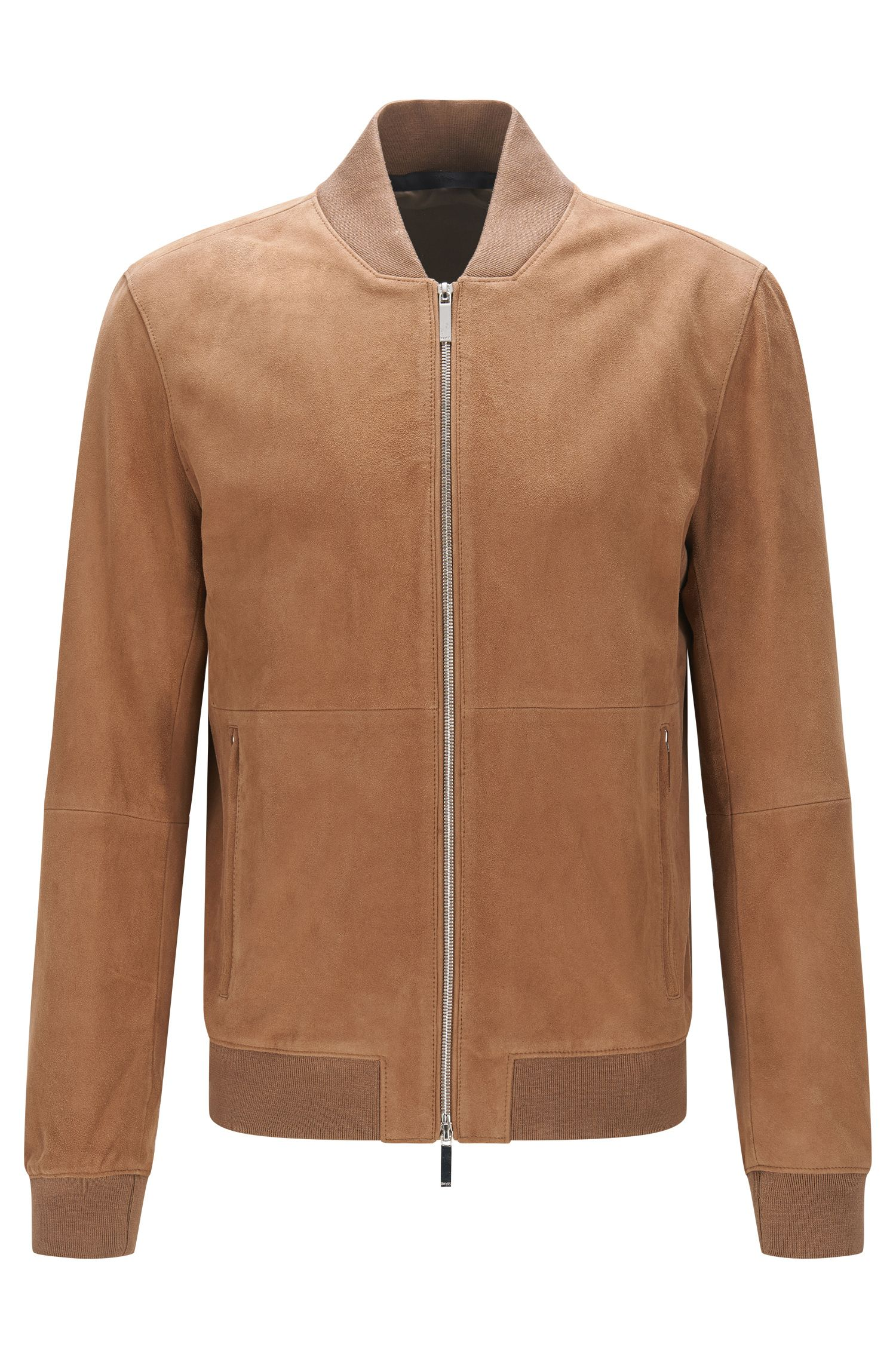 Regular-fit leather jacket with ribbed cuffs: 'Alfondo-WS'