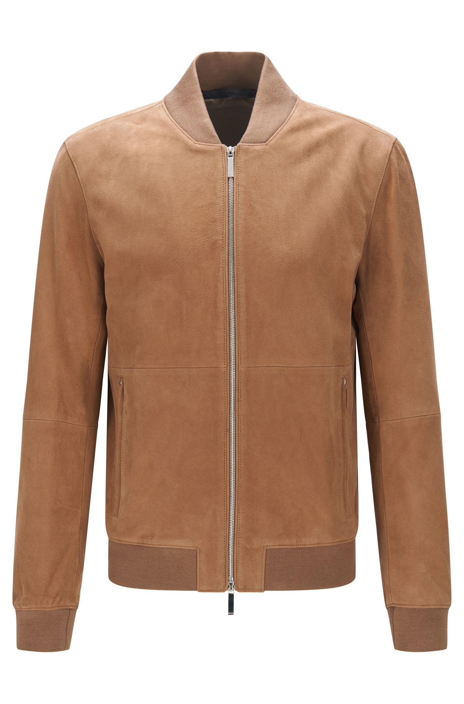 Leren regular-fit jas met ribboorden: 'Alfondo-WS'