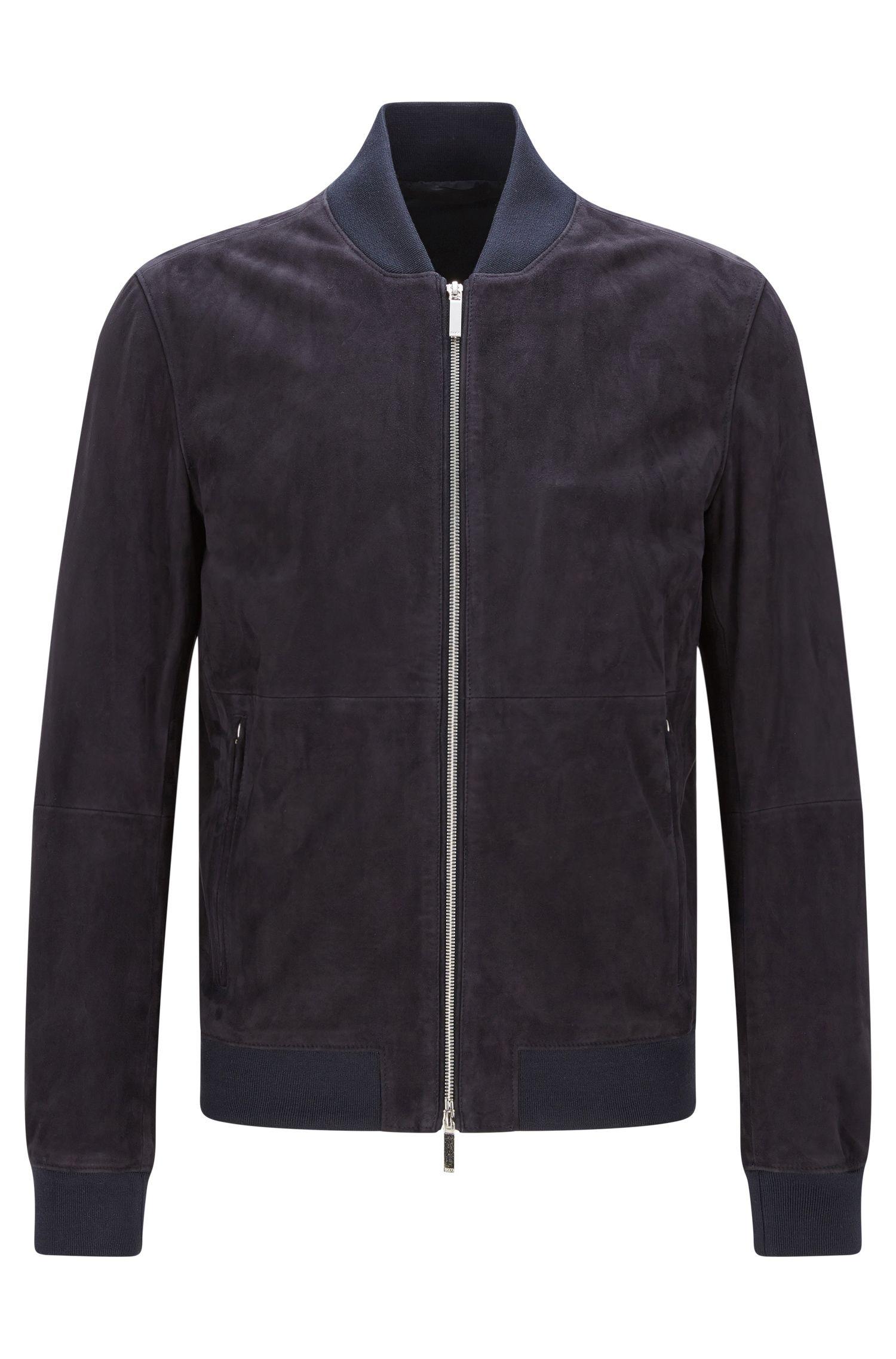 Blouson en cuir Regular Fit à bordures côtelées: «Alfondo-WS»