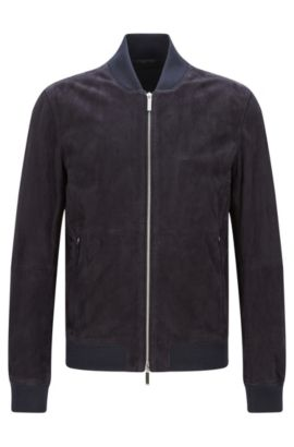 Regular-fit leather jacket with ribbed cuffs: 'Alfondo-WS', Dark Blue