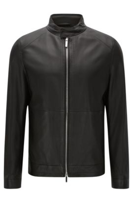 Leather jacket with 2-way zip: 'Nartimo', Black