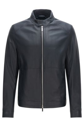 Leather jacket with 2-way zip: 'Nartimo', Dark Blue