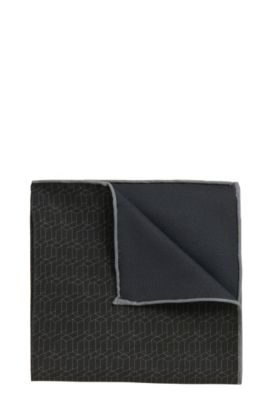 Tailored pocket square in a silk blend with cotton: 'T-Pocket sq. 33x33 cm', Anthracite