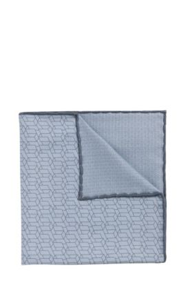 Tailored pocket square in a silk blend with cotton: 'T-Pocket sq. 33x33 cm', Light Blue