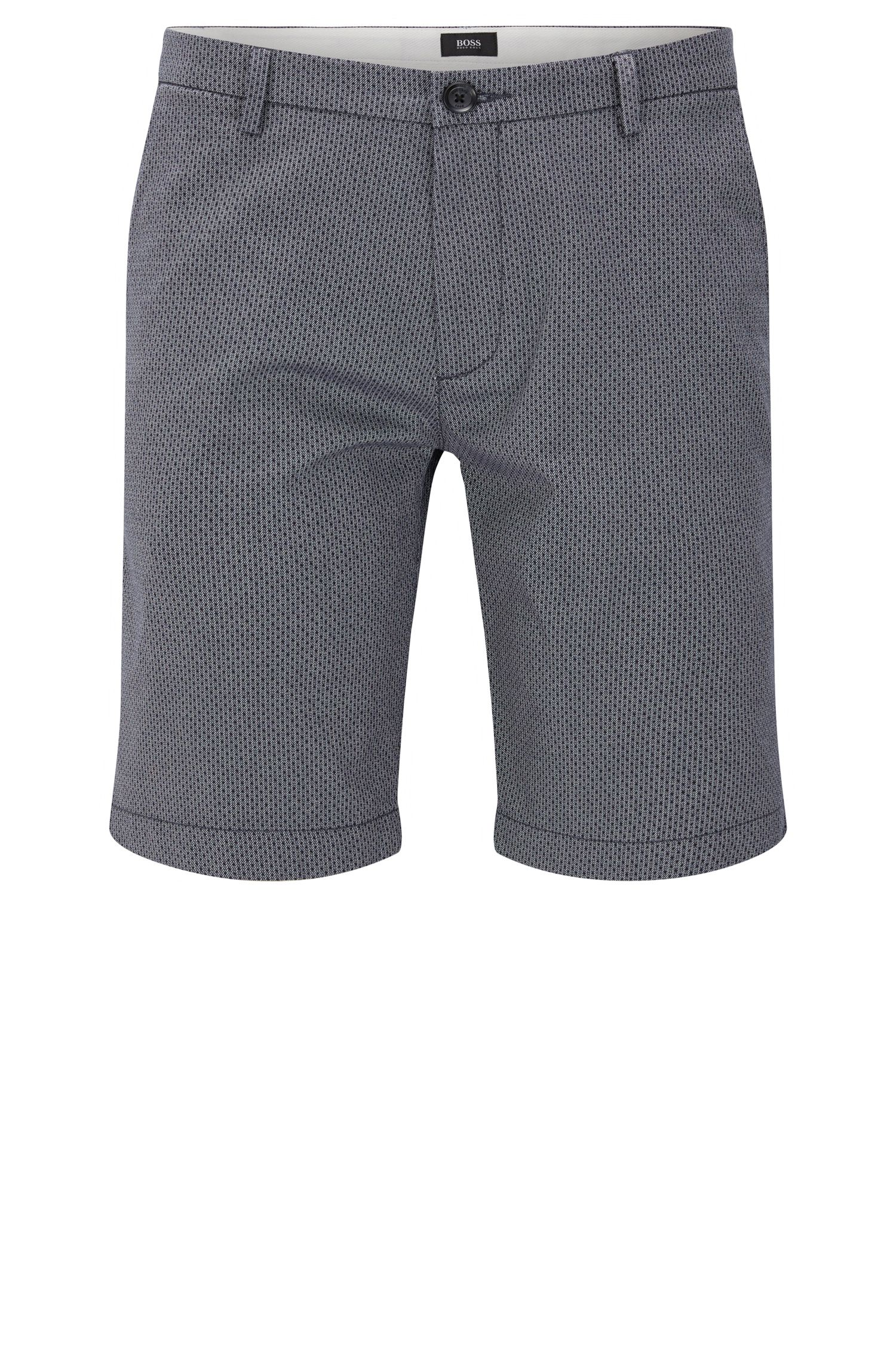 Patterned slim-fit shorts in stretch cotton: 'RiceShort3-D'